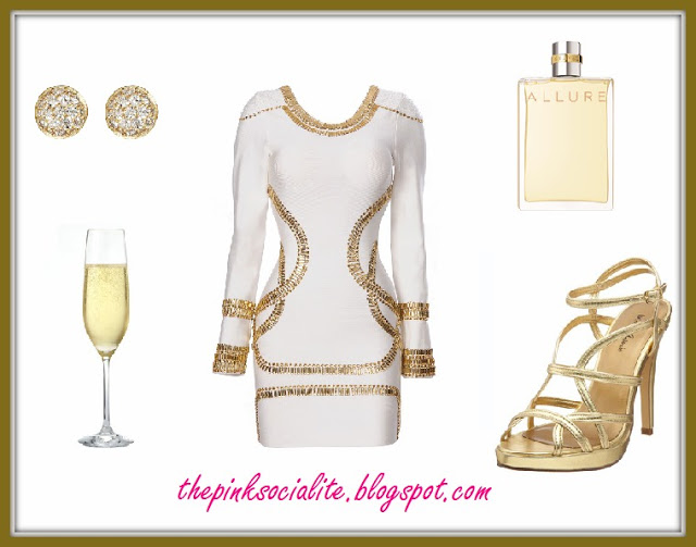 New Year's Eve Style : 'Sass' White Crystal Embellished Bandage Bodycon Dress