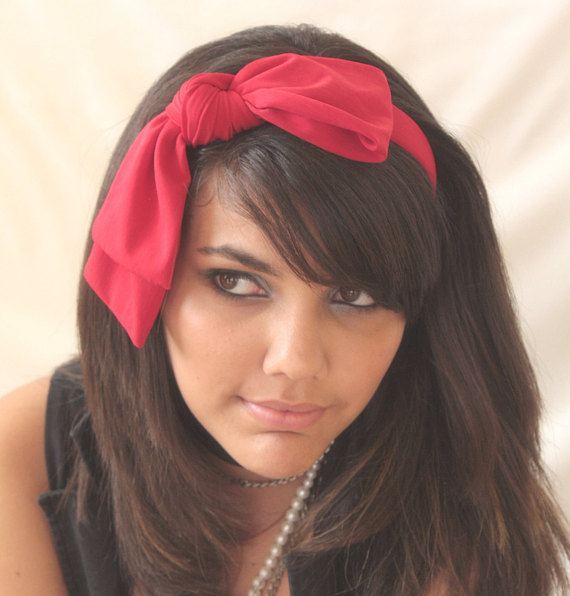 Bow Headband Loop Red Jersey - by Sophia Touassa Millinery & Accessories