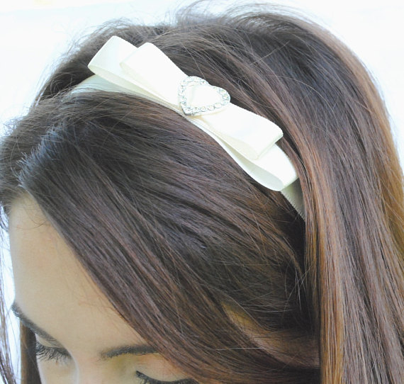 Bridal Headband White Satin Ribbon with Crystal Heart - by Sophia Touassa Millinery & Accessories