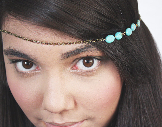 Chain Headband Headpiece Bohemian Hipster Boho Hippie Bronze Turquoise Bridal Statement Jewelry Single Strand