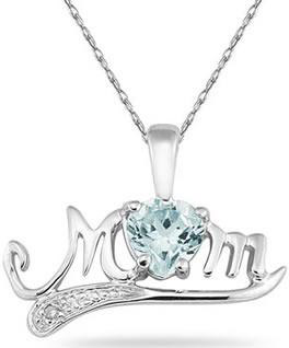 Aquamarine and Diamond MOM Necklace, 10K White Gold