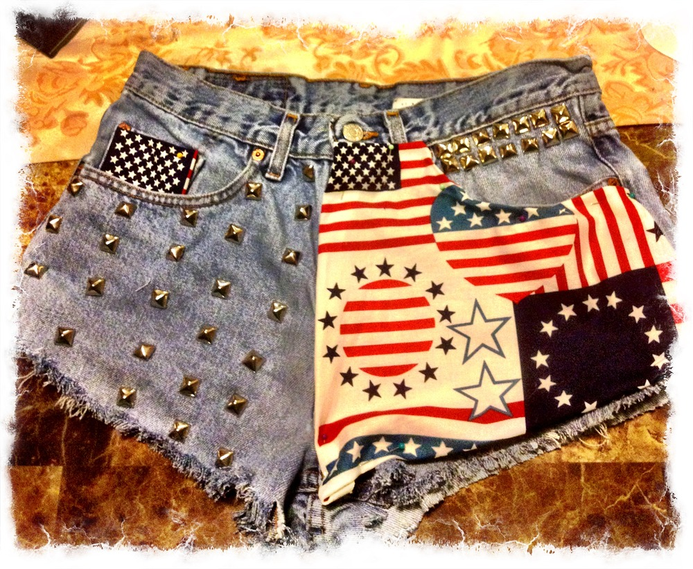Image of SLS Remixed American flag studded shorts