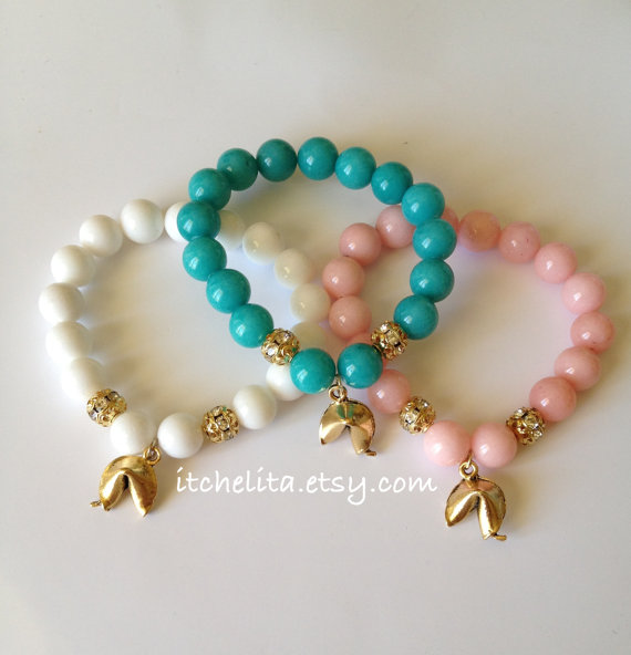 Jade Gemstone beads with Fortunate Cookie & Swarovski Crystal