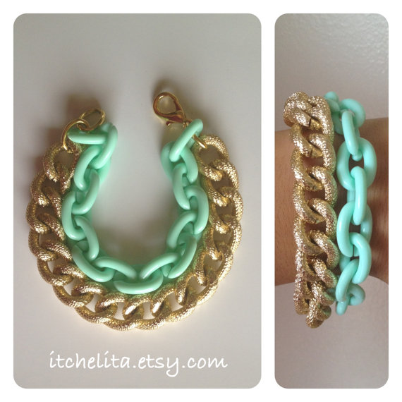 THE LUXE BRACELET: Gold Chunky textured chain with Mint  Plastic Chain Bracelet