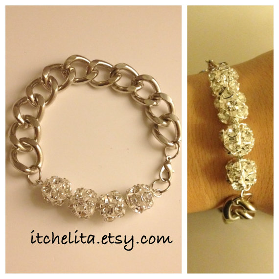 MARY BRACELET: Thick Silver Curb Chain Bracelet with Crystal balls