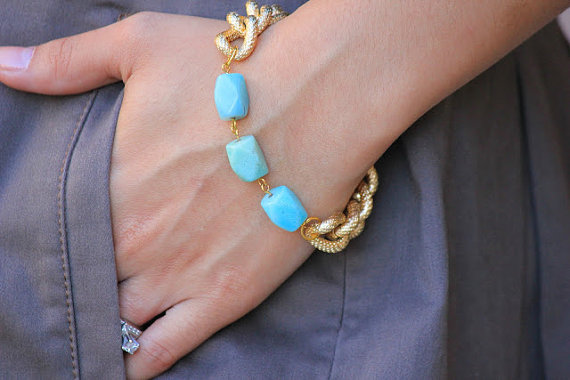 Mint Amazonite Gemstone with Chunky Gold Textured Chain Bracelet