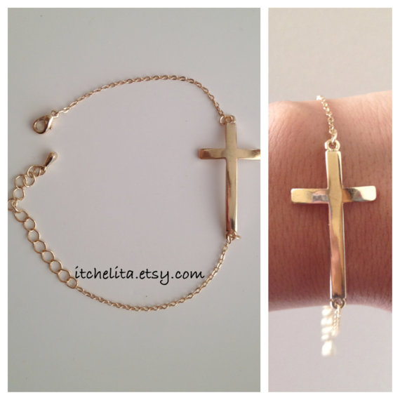 Adjustable Gold Side Cross  Bracelet