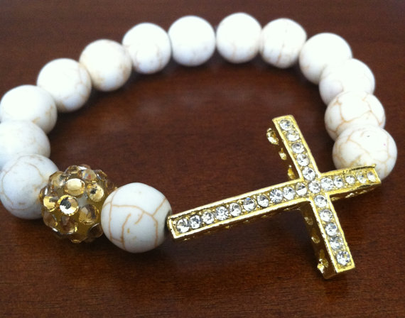 Cracked White and Gold Beads with Sideways Cross Bracelet
