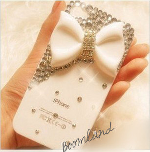 Charming White Bow iPhone case iphone 4/4s case iphone 5 case iphone hard case iPhone clear case iphone cover bling case handmade