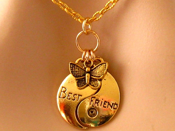 Best Friend Necklace, Gold, Butterfly, Best Friend Yin Yang Necklace