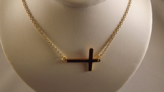 Giveaway: Gold Sideway Cross Necklace